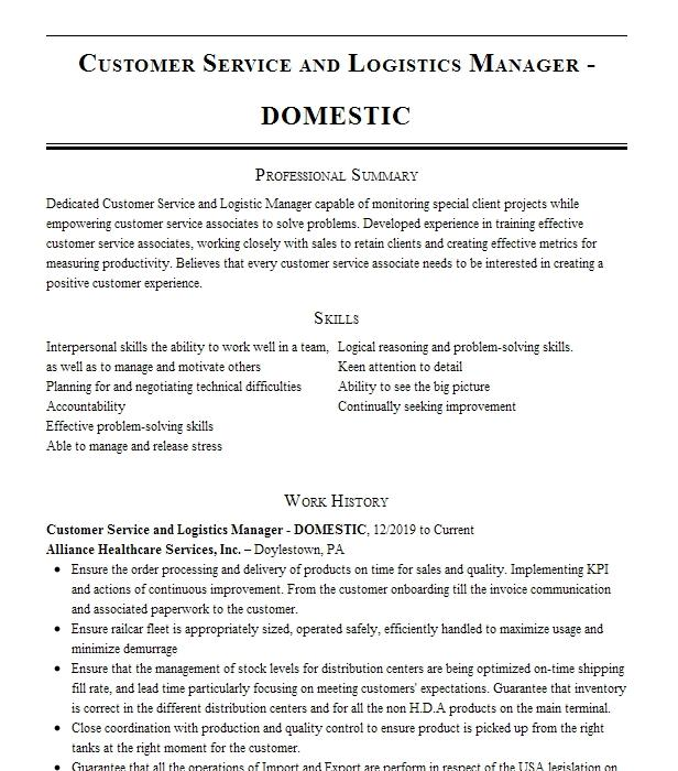 customer service    logistics manager resume example