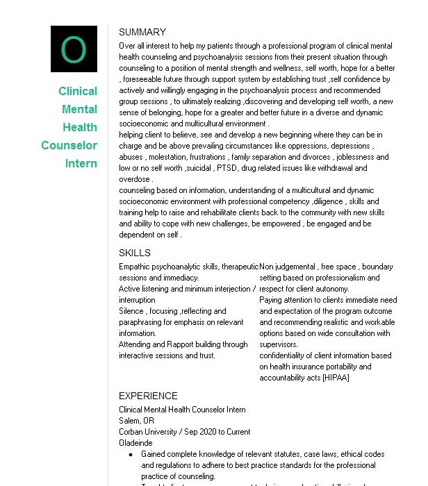 Clinical Mental Health Intern Resume Example Comprehensive ...