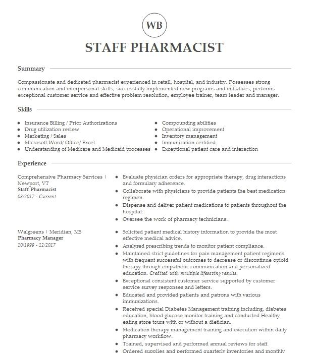 Staff Pharmacist Resume Example Walgreen's Pharmacy