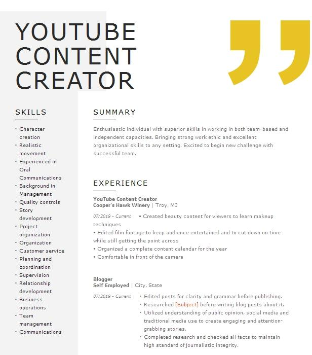 youtube content creator resume example youtube