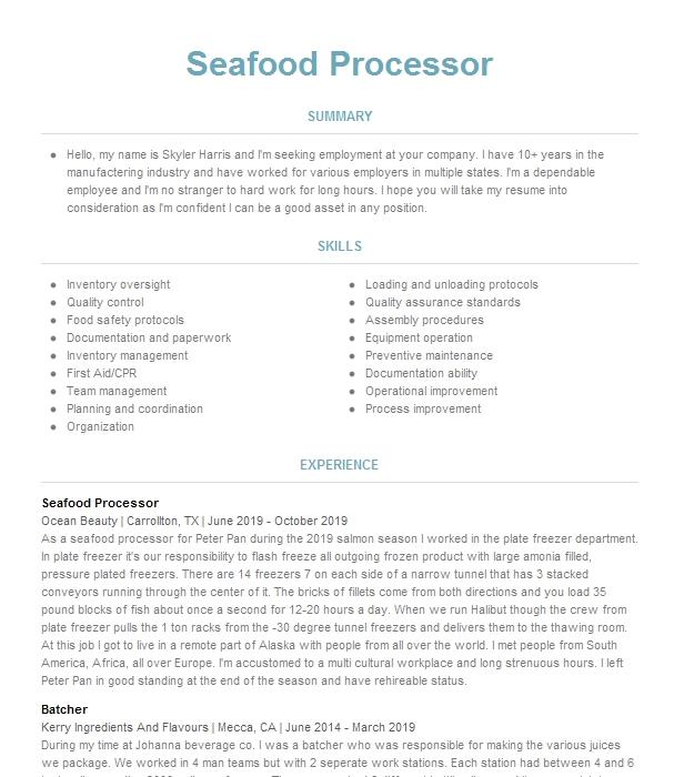 Seafood processing resume how to write a zen poem