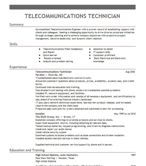 telecommunications technician objectives
