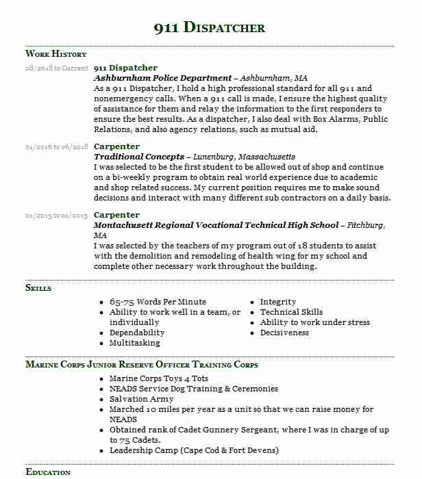 911 dispatcher resume objectives resume sample