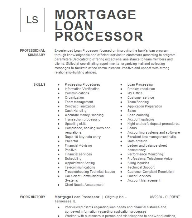 senior mortgage loan processor resume example first national bank mortgage
