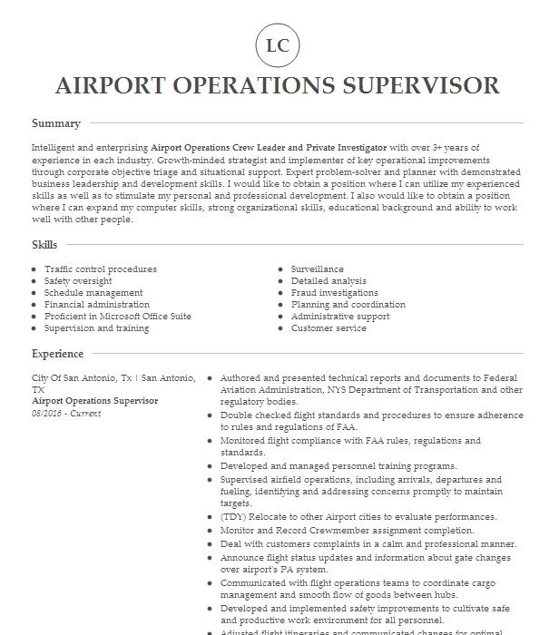 airport operations supervisor resume example united