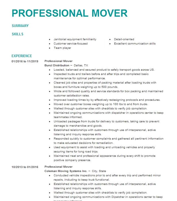professional mover resume example lincoln moving  u0026 storage