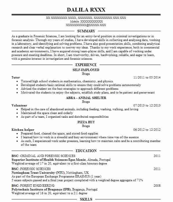 138 Forensic Scientists CV Examples