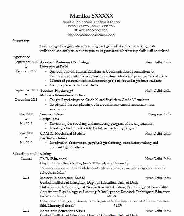 887 psychology cv examples  u0026 templates