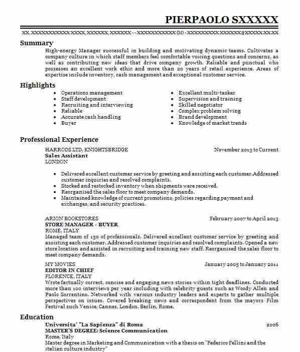cv for warehouse operative