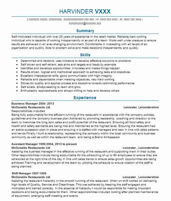 910 fast food cv examples