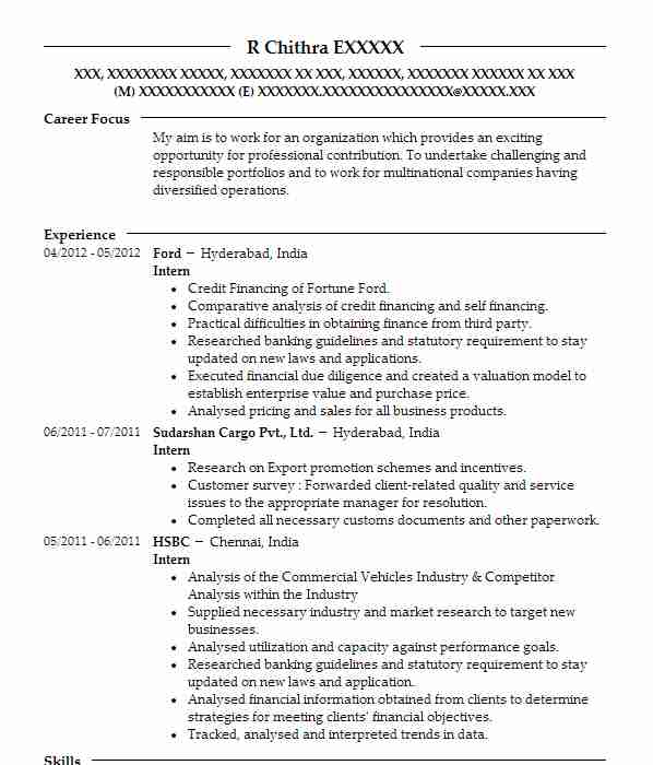 resume samples financial services