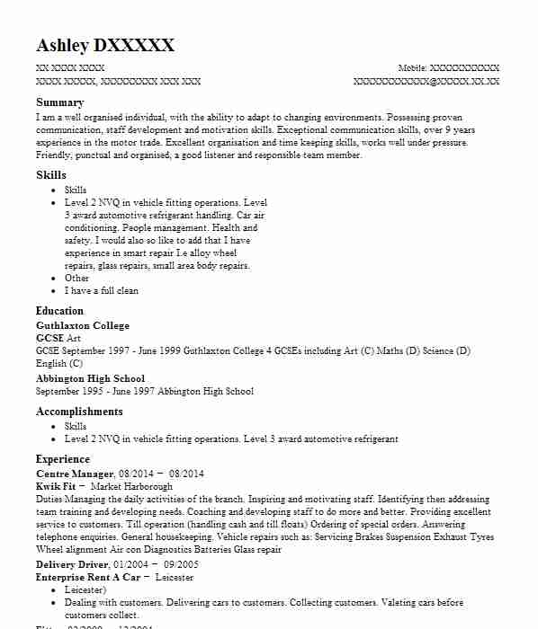 1582 automotive and motor vehicles cv examples