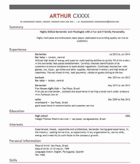 1965 Bartenders CV Examples | Food And Beverage CVs | LiveCareer