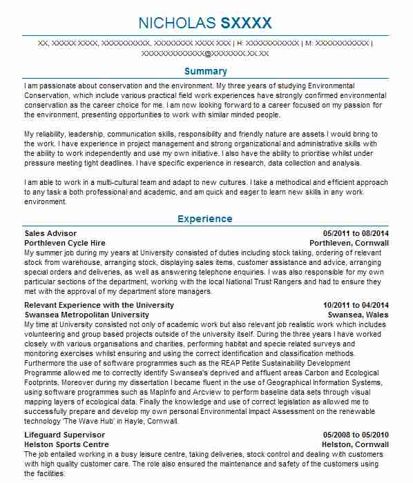 3 conservation and environmental scientists cv examples in