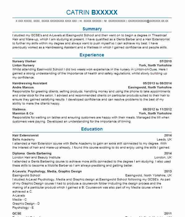 109 barbers cv examples