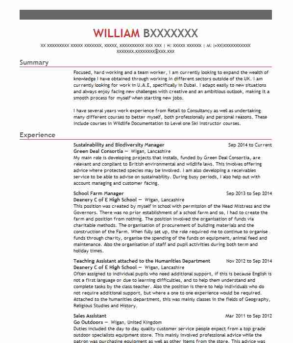 92 environmental science cv examples