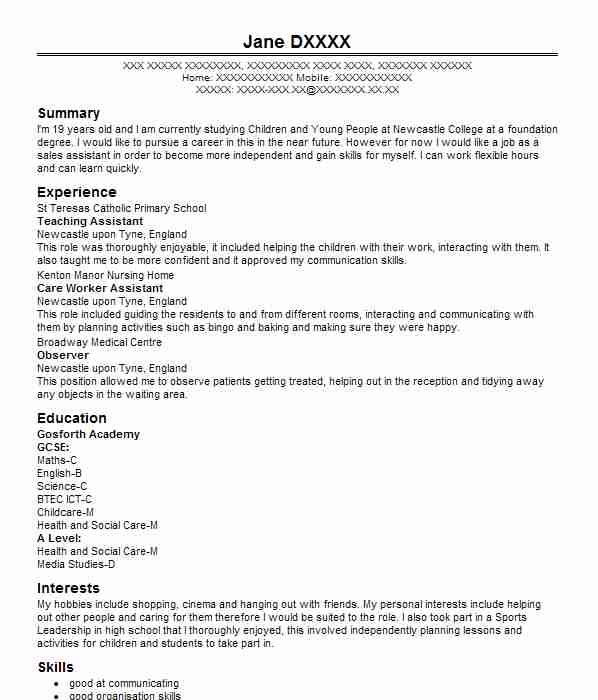 teaching assistant cv example  st lawrence primary school