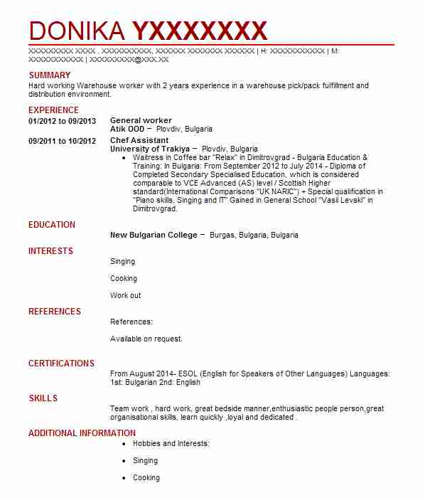 warehouse operative cv example  tesco