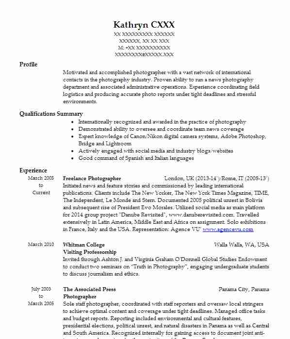 414 photography cv examples