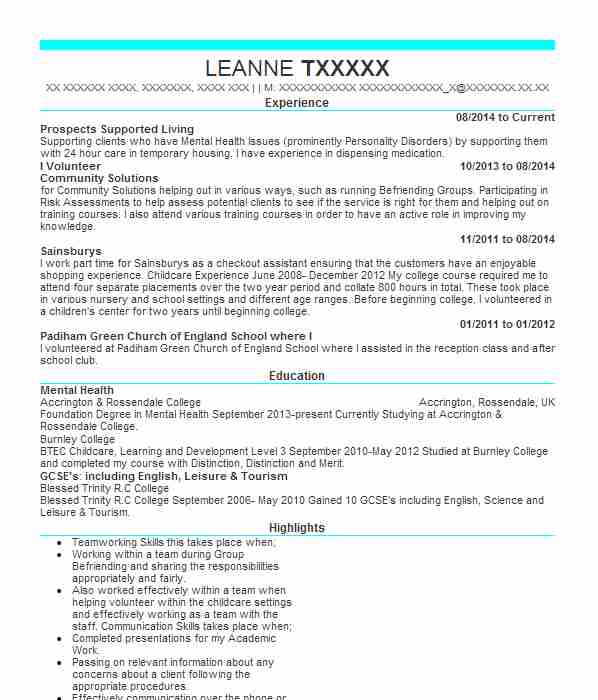 support worker cv example  levington court