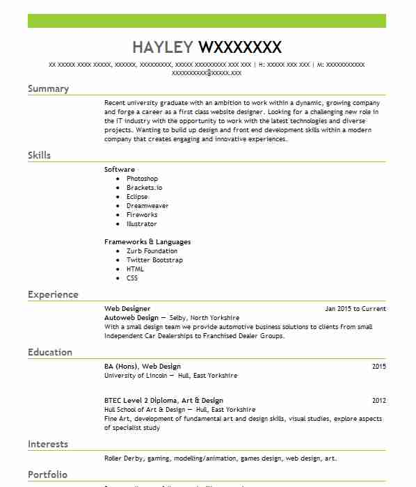 Find CV Examples In Doncaster, SYK