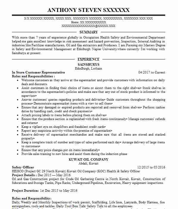 40 occupational health and safety cv examples
