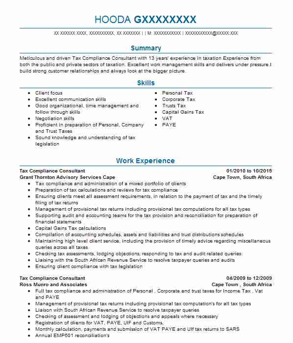 compliance officer cv example  hm revenue  u0026 customs