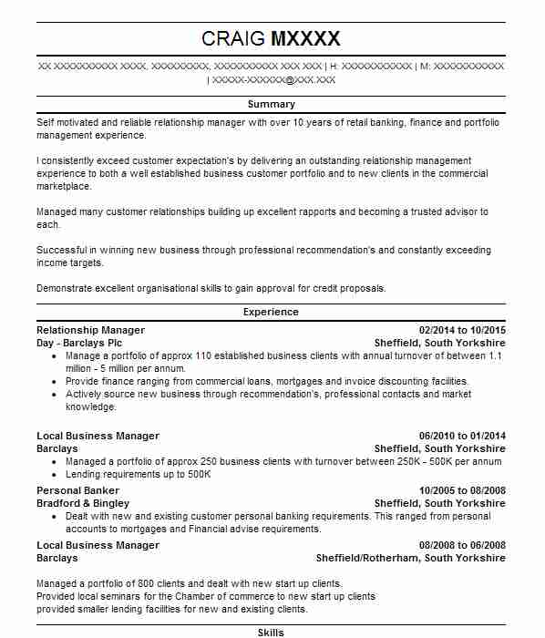 Relationship Manager CV Example (Day Barclays Plc