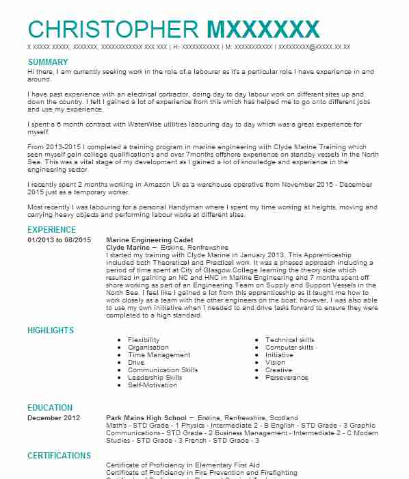 166 Marine Engineers Cv Examples Engineering Cvs Livecareer