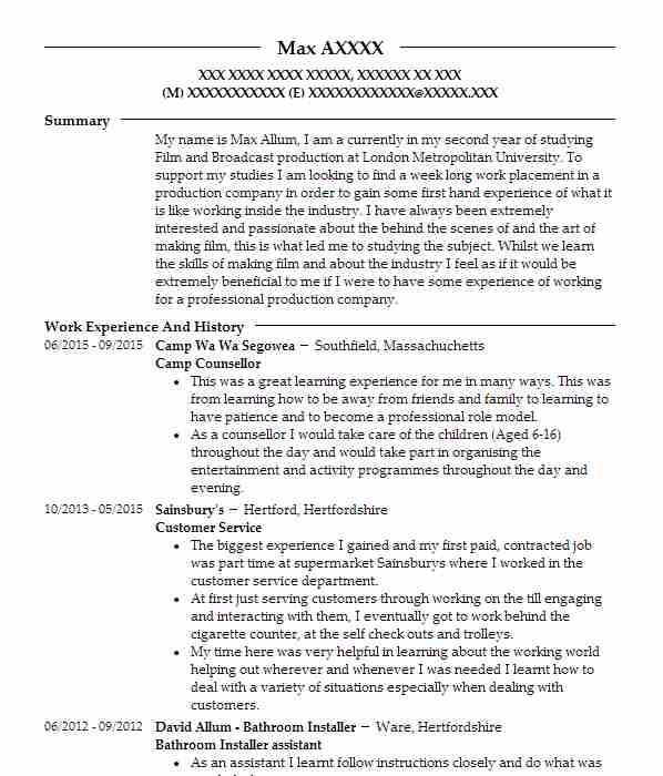 camp counsellor filmmaker resume template - Narrative Resume Sample
