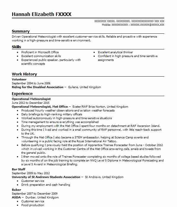 Operational Meteorologist  Social Media Resume Examples