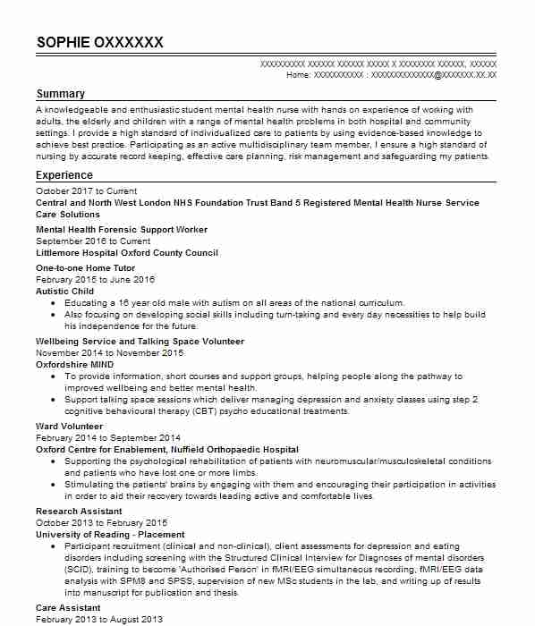 Health And Wellbeing Officer CV Example Stafford And Rural ...