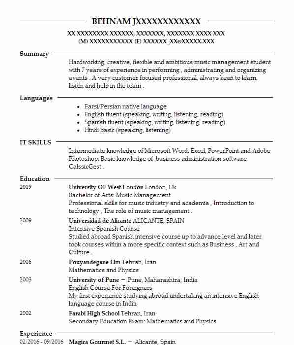 Top Singers And Musicians CV  Music Resume Samples