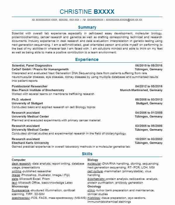 Laboratory Technician CV Example (Concept Life Sciences