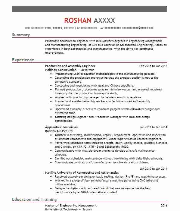 601 aerospace engineers cv examples