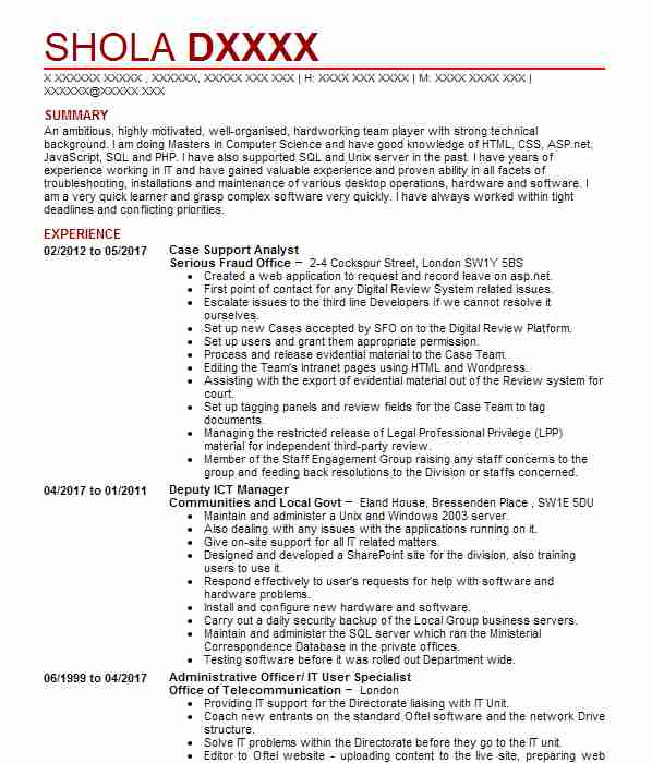 Computers And Technology Cvs: 129 Hardware Engineers And Specialists CV Examples