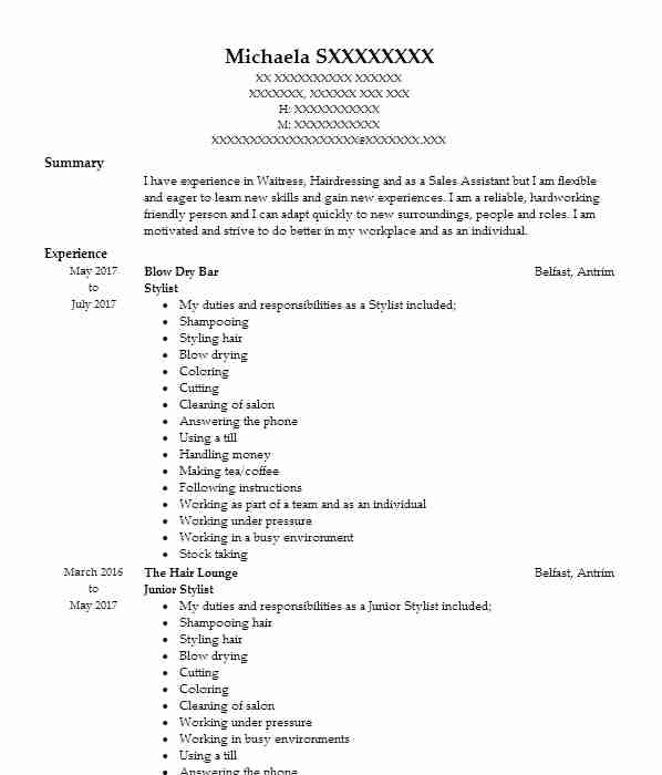 1151 Personal Services CV Examples & Templates