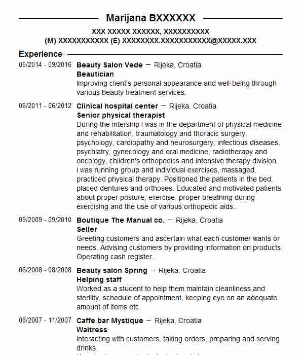 physiotherapy cv
