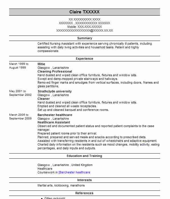 cleaner cv example  serco