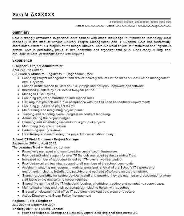 516 Technical Support CV Examples