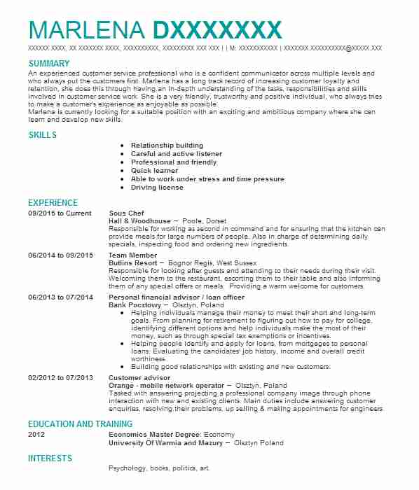 2608 Banking And Financial Services CV Examples & Templates | LiveCareer