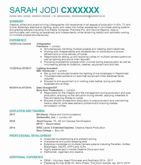 production runner cv example  kode media the guardian