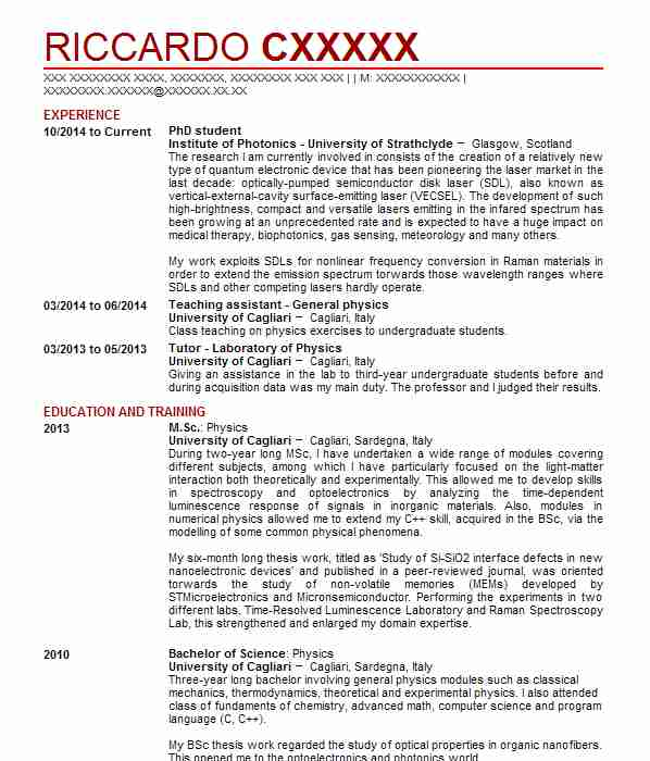 73 physicists cv examples science cvs livecareer phd student yelopaper Choice Image