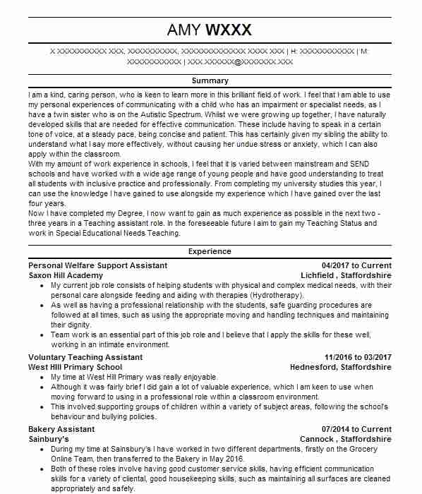 Nursery nurse cv example stepping stones nursery school personal welfare support assistant yelopaper Image collections