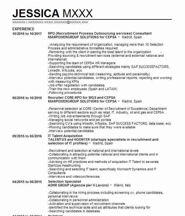 472 recruiting and employment cv examples human resources cvs