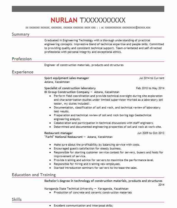 709 engineering technicians cv examples