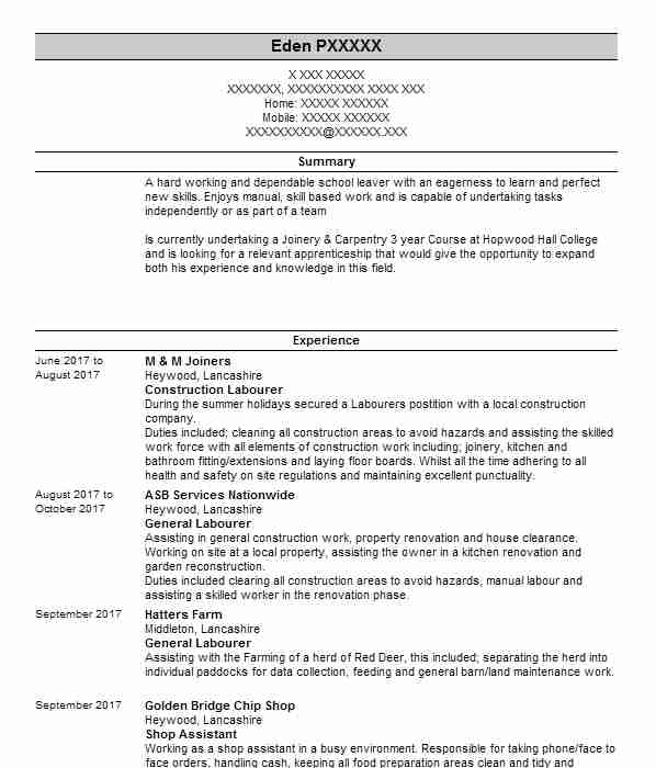 Carpenter and joiner cv example a j filsell property services construction labourer yelopaper Images