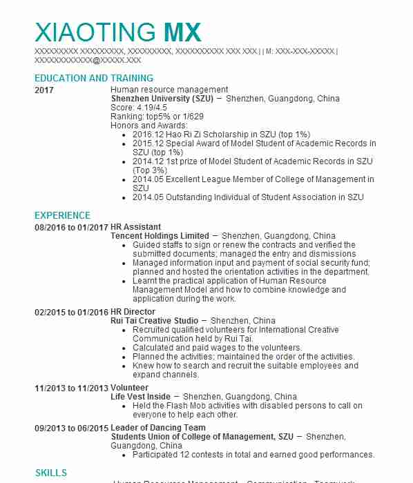 142 human resources cv examples