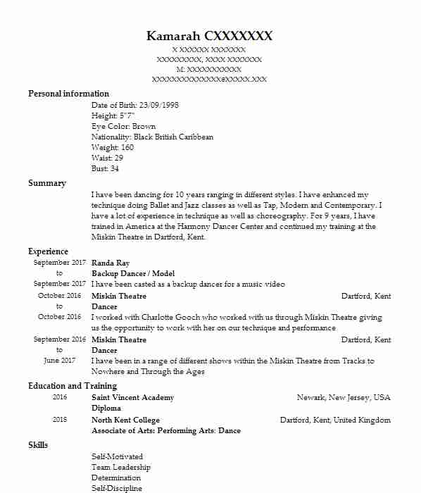 1341 performing arts cv examples  u0026 templates