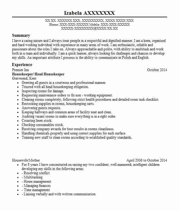 full time mother and housewife cv example career break